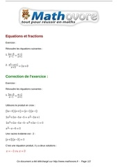 exercices equations et fractions maths premiere 1109
