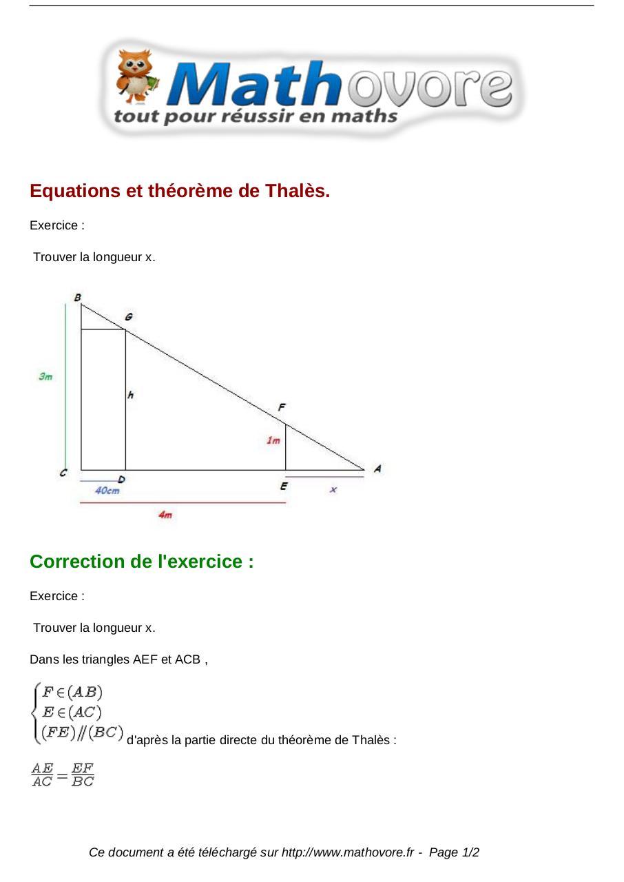 exercices equations et theoreme de thales maths seconde ...