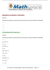 exercices equations produits a resoudre maths troisieme 812