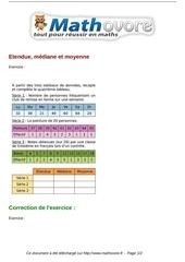 exercices etendue mediane et moyenne maths troisieme 919