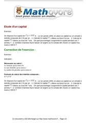 exercices etude d un capital maths premiere 1057