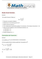 exercices etude d une fonction maths premiere 85