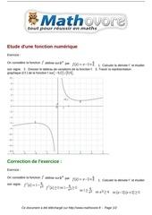 Fichier PDF exercices etude d une fonction numerique maths premiere 1027