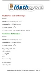 exercices etude d une suite arithmetique maths premiere 1041