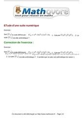 Fichier PDF exercices etude d une suite numerique maths premiere 1058