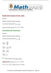 Fichier PDF exercices etude de la nature d une suite maths premiere 730