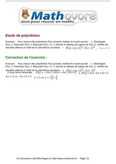 exercices etude de polynomes maths seconde 962