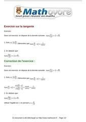 exercices exercice sur la tangente maths premiere 1131
