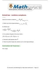 exercices extrait bac nombres complexes maths terminale 153