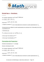 exercices extrait bac s fonctions maths terminale 149