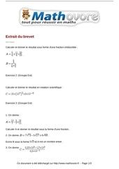 exercices extrait du brevet maths troisieme 143