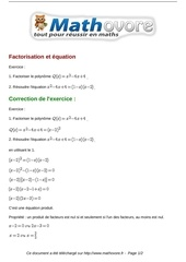 exercices factorisation et equation maths seconde 968