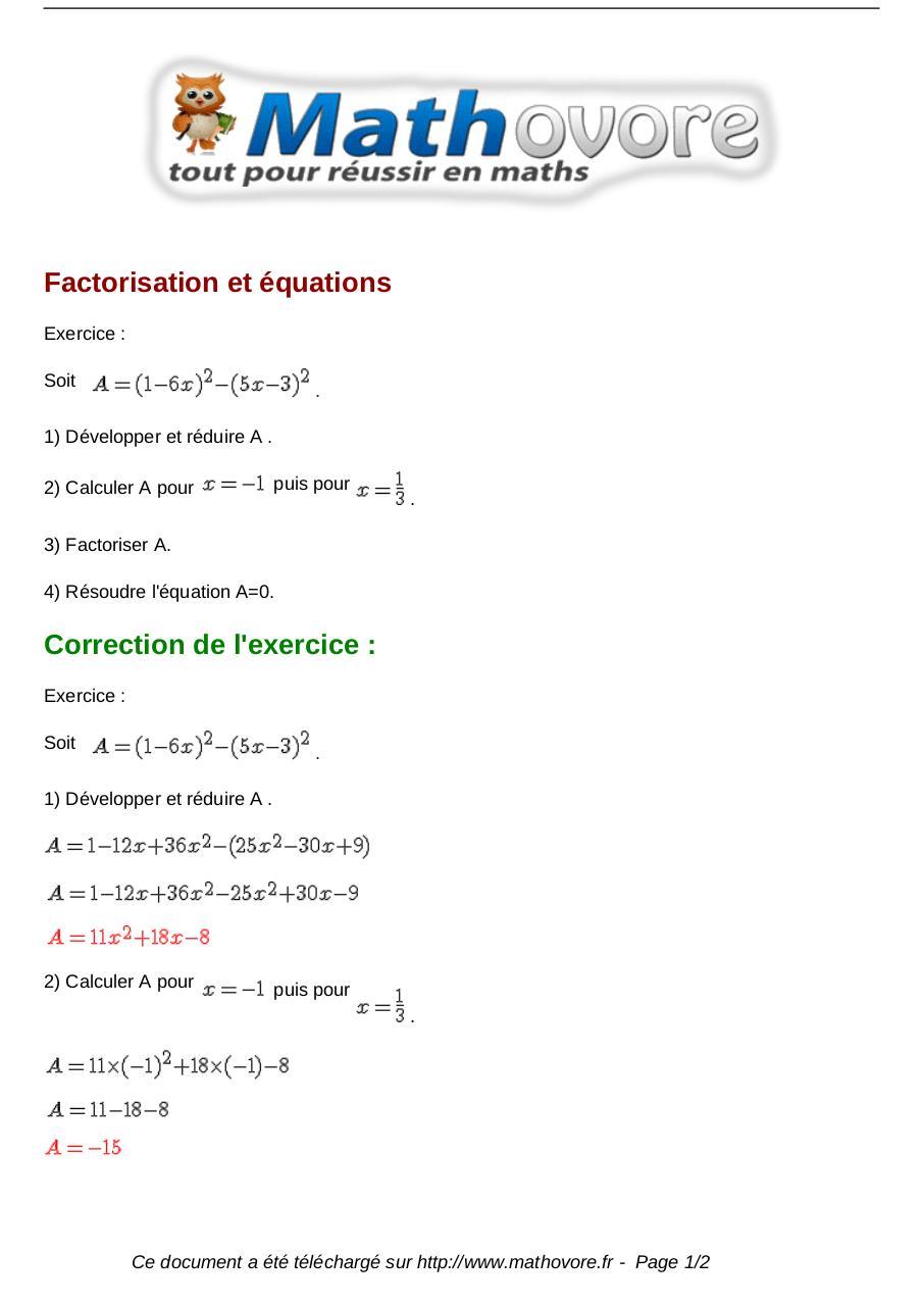 Exercice Factorisation 3eme Pdf