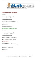 exercices factorisation et equations maths seconde 761