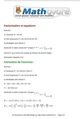 exercices factorisation et equations maths troisieme 580