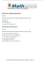 exercices factoriser chaque expression maths seconde 1205