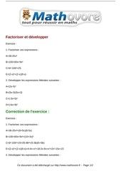 Fichier PDF exercices factoriser et developper maths troisieme 600