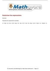 exercices factoriser les expressions maths troisieme 1511
