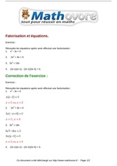 exercices fatorisation et equations maths seconde 731