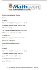 exercices fonctions et calcul litteral maths seconde 424