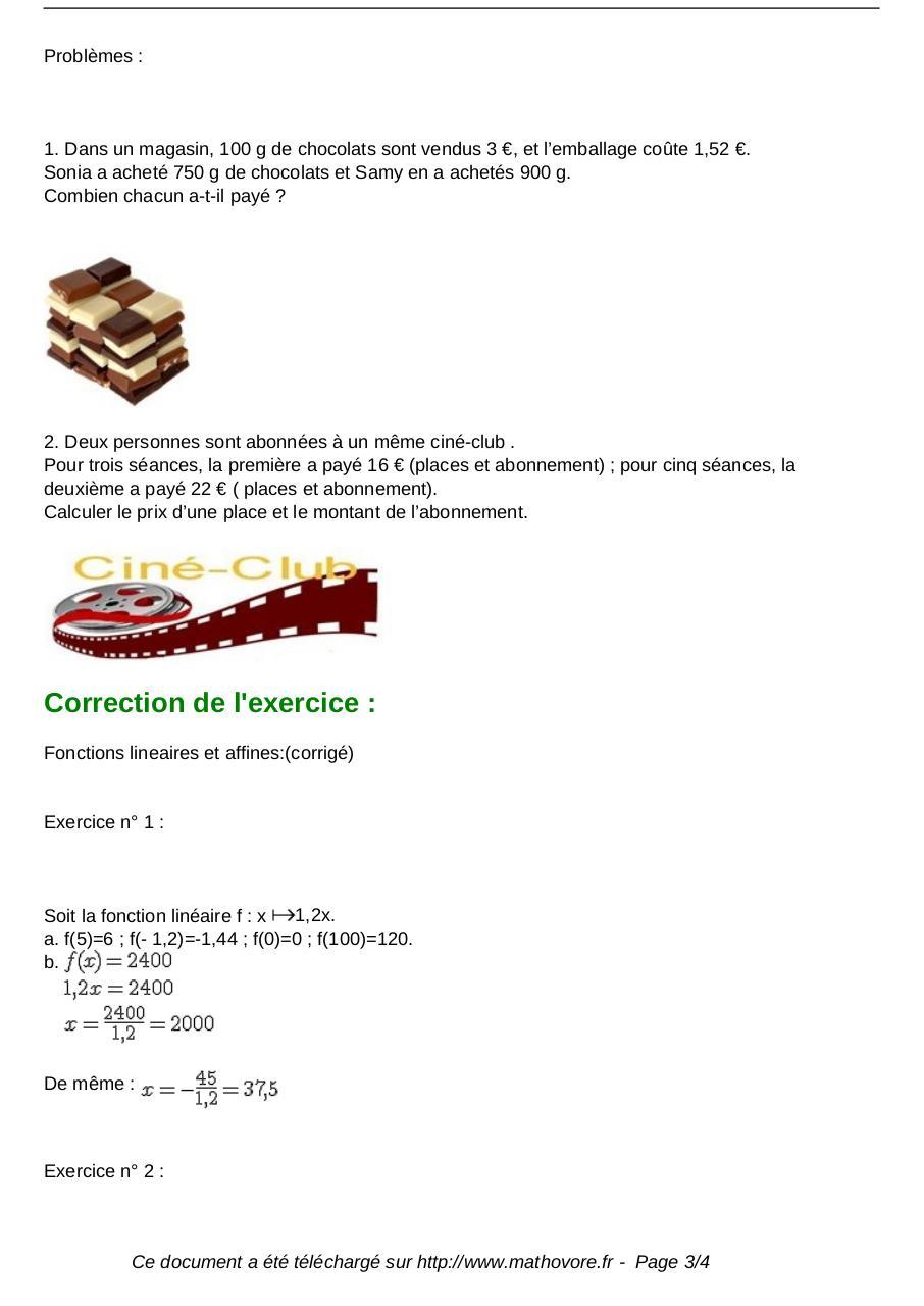 exercices fonctions lineaires et affines maths seconde 137 - Fichier PDF