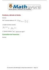 exercices fontions derivee et limite maths premiere 458