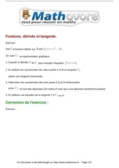 exercices fontions derivee et tangente maths premiere 459