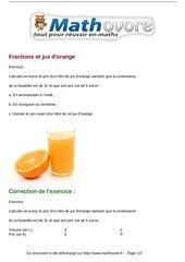 Fichier PDF exercices fractions et jus d orange maths sixieme 711