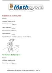exercices fractions et tour de piste maths sixieme 710
