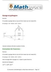 exercices garage et pythagore maths quatrieme 837