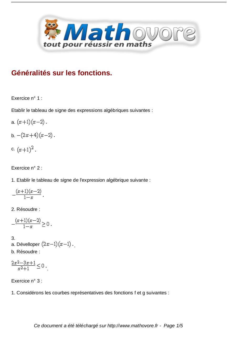 Exercices Generalites Sur Les Fonctions Maths Seconde 135 Fichier Pdf