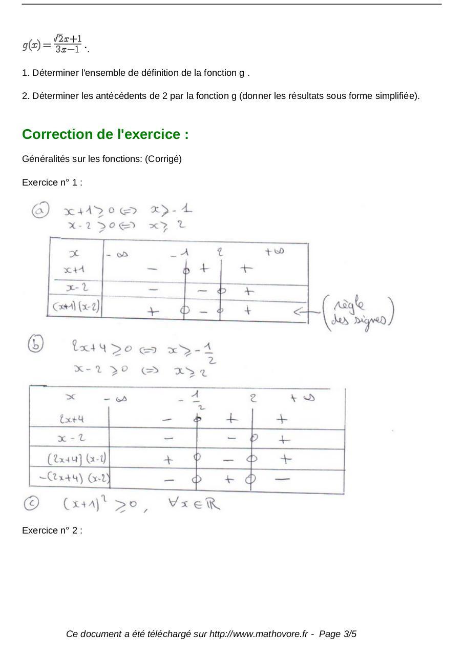 exercices generalites sur les fonctions maths seconde 135 ...