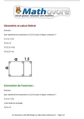 Fichier PDF exercices geometrie et calcul litteral maths cinquieme 861