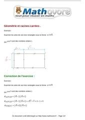 Fichier PDF exercices geometrie et racines carrees maths troisieme 768