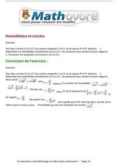 exercices homotheties et cercles maths premiere 1146
