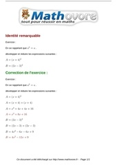 Fichier PDF exercices identite remarquable maths quatrieme 492