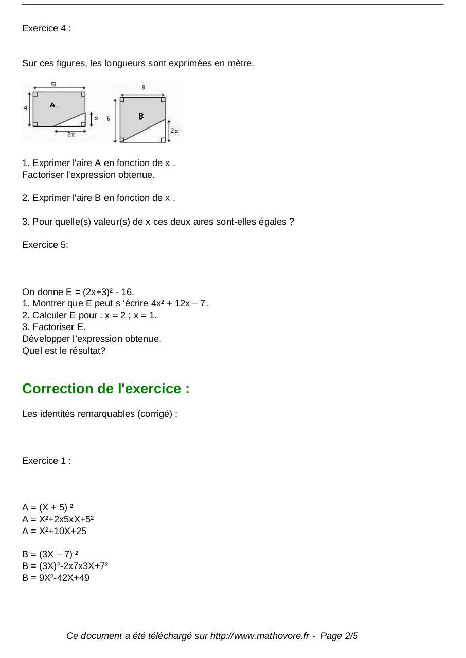 Exercices Identites Remarquables Maths Troisieme 163 Fichier Pdf
