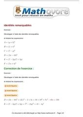 exercices identites remarquables maths troisieme 501