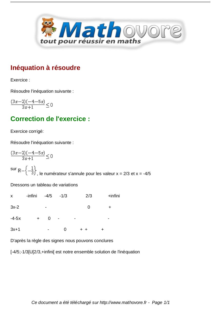 Exercices Inequation A Resoudre Maths Seconde 977 Fichier Pdf