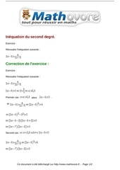 Fichier PDF exercices inequation du second degre maths seconde 754