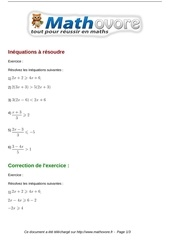 Fichier PDF exercices inequations a resoudre maths troisieme 511