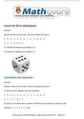 exercices lance de de et statistiques maths cinquieme 1311