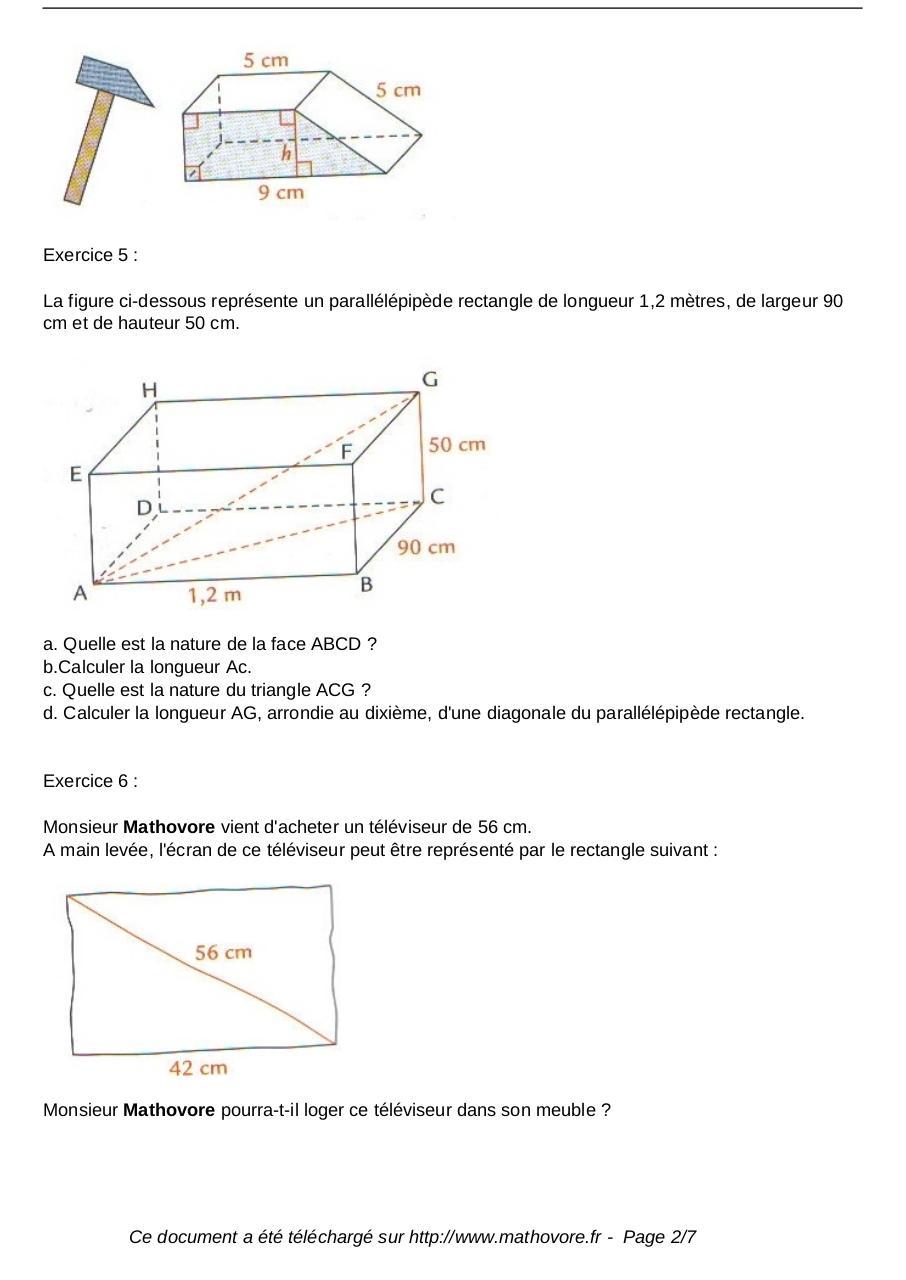 exercices le theoreme de pythagore maths quatrieme 527 ...