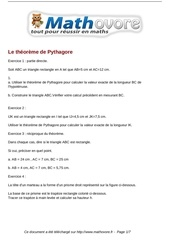 exercices le theoreme de pythagore maths quatrieme 527
