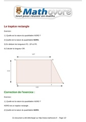 exercices le trapeze rectangle maths quatrieme 583