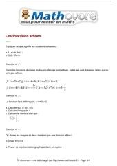 exercices les fonctions affines maths troisieme 55