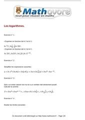Fichier PDF exercices les logarithmes maths terminale 126
