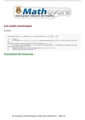 exercices les suites numeriques maths terminale 426