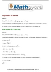 exercices logarithme et derivee maths terminale 569