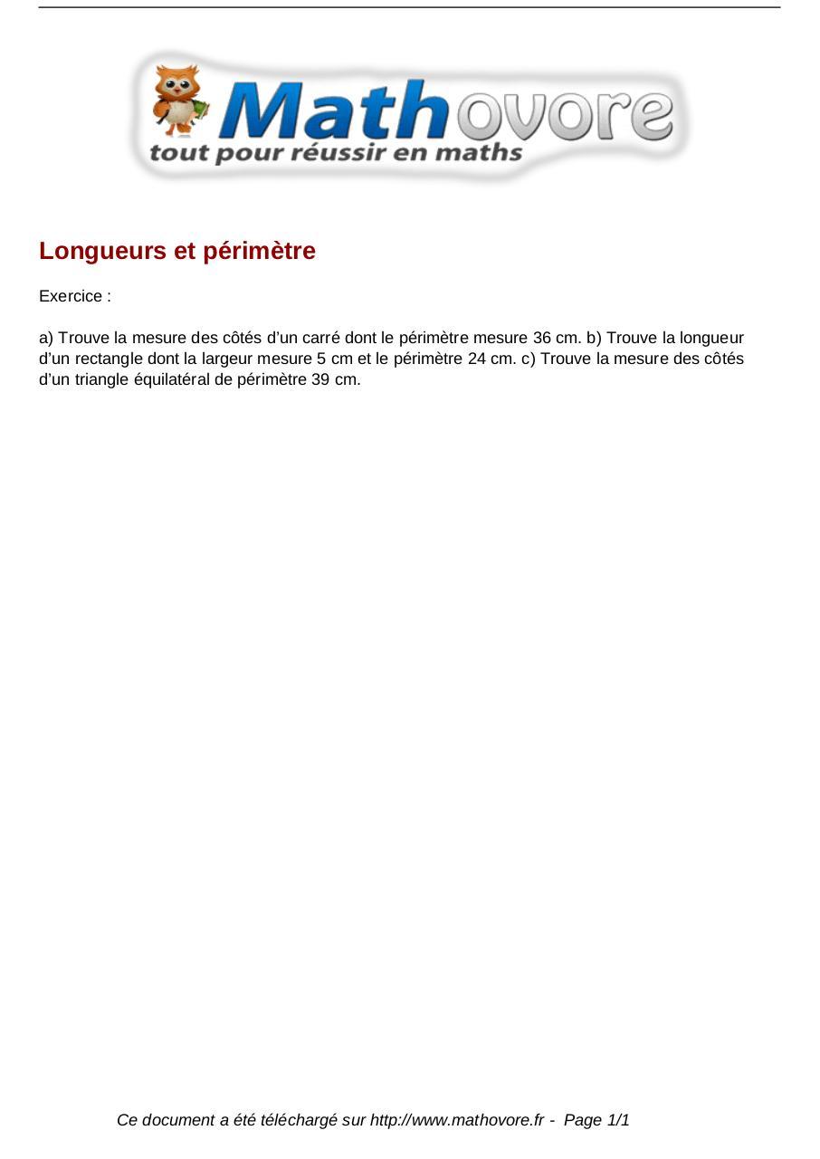 Exercices Longueurs Et Perimetre Maths Cm2 1558 Fichier Pdf